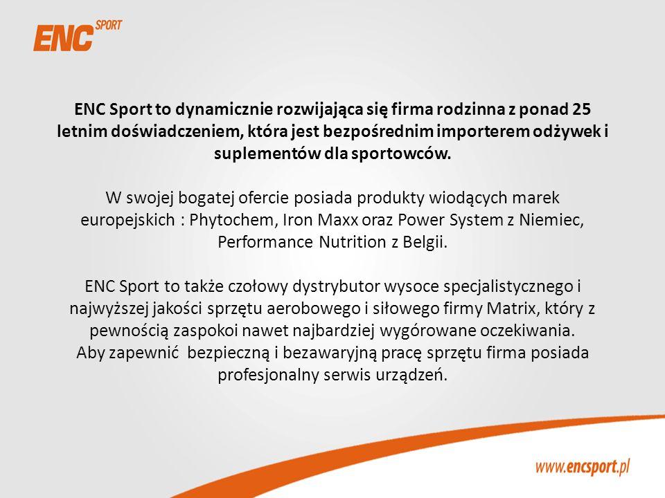 ENC Sport to dynamicznie rozwijająca się firma rodzinna z ponad 25 letnim doświadczeniem, która jest bezpośrednim importerem odżywek i suplementów dla