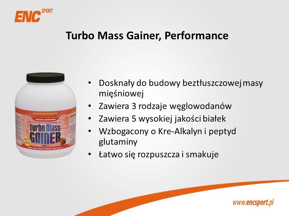 Turbo Mass Gainer, Performance Dosknały do budowy beztłuszczowej masy mięśniowej Zawiera 3 rodzaje węglowodanów Zawiera 5 wysokiej jakości białek Wzbo