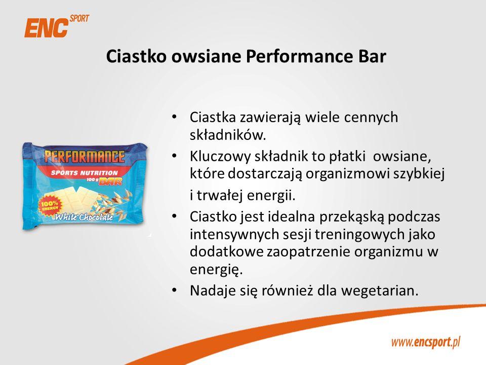 Ciastko owsiane Performance Bar Ciastka zawierają wiele cennych składników. Kluczowy składnik to płatki owsiane, które dostarczają organizmowi szybkie