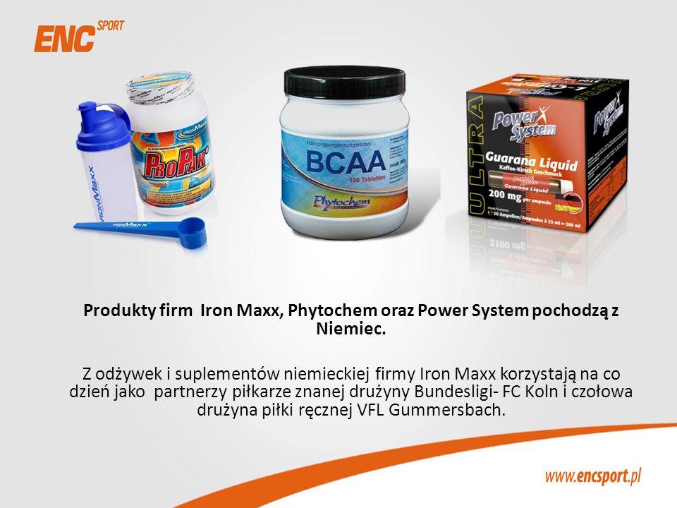 Produkty firm Iron Maxx, Phytochem oraz Power System pochodzą z Niemiec. Z odżywek i suplementów niemieckiej firmy Iron Maxx korzystają na co dzień ja