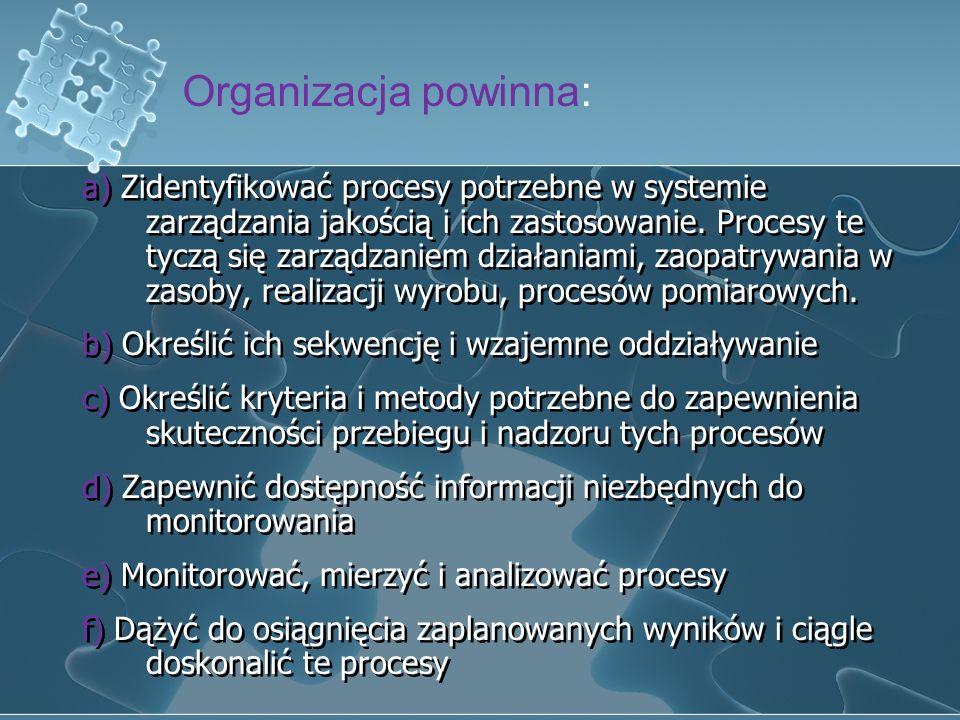 3) System zarządzania Jakością WYMAGANIA OGÓLNE Organizacja powinna ustanowić, udokumentować, wdrążyć i utrzymać system zarządzania jakością oraz ciąg