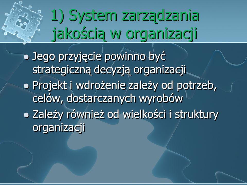 1) System zarządzania jakością w organizacji Jego przyjęcie powinno być strategiczną decyzją organizacji Projekt i wdrożenie zależy od potrzeb, celów, dostarczanych wyrobów Zależy również od wielkości i struktury organizacji Jego przyjęcie powinno być strategiczną decyzją organizacji Projekt i wdrożenie zależy od potrzeb, celów, dostarczanych wyrobów Zależy również od wielkości i struktury organizacji
