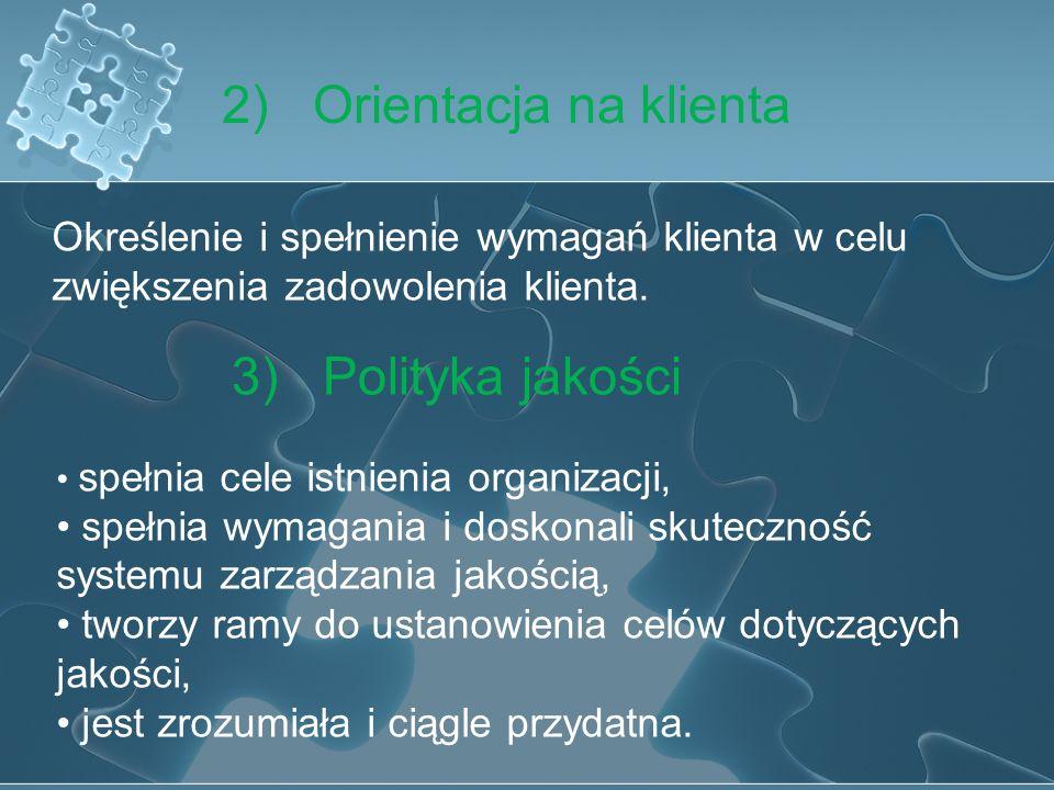1) Zaangażowanie kierownictwa Kierownictwo powinno brać czynny udział w tworzeniu, wdrażaniu oraz doskonaleniu skuteczności systemu zarządzania jakośc