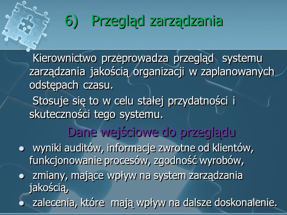 5 ) Odpowiedzialność, uprawnienia i komunikacja Określenie i zakomunikowanie odpowiedzialności i uprawnień przez kierownictwo. Przedstawiciel kierowni
