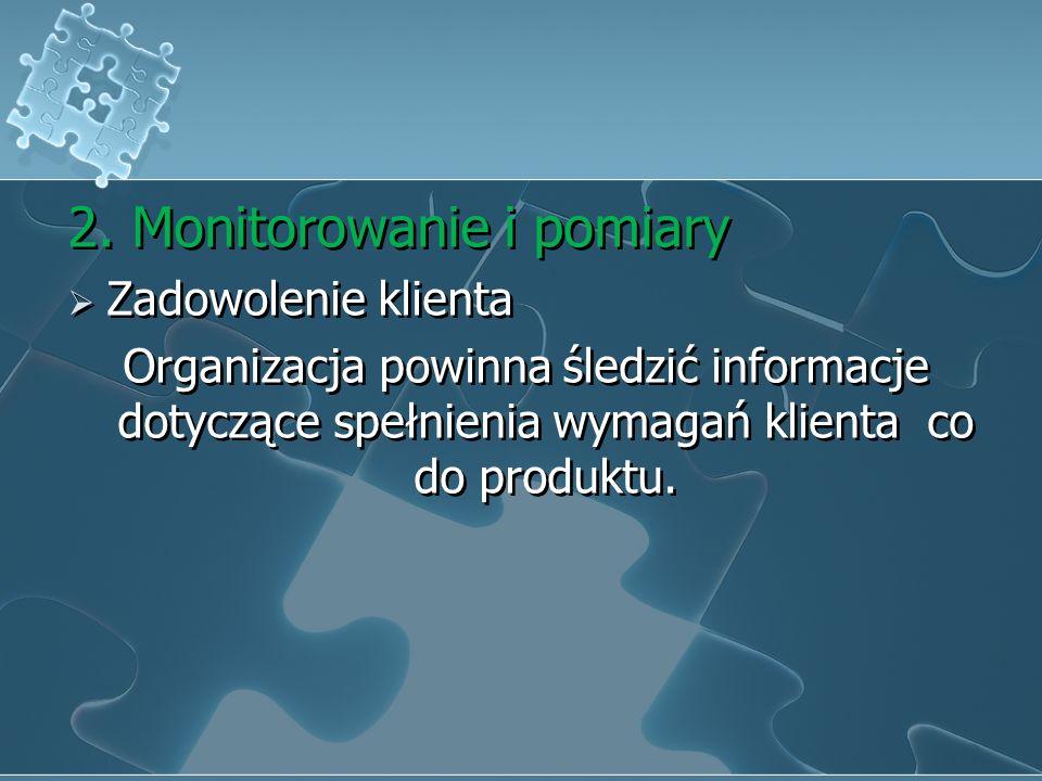 iv.Pomiary, analiza i doskonalenie 1. Postanowienia ogólne Organizacja powinna zaplanować i wdrożyć procesy monitorowania, pomiaru, analizy i doskonal