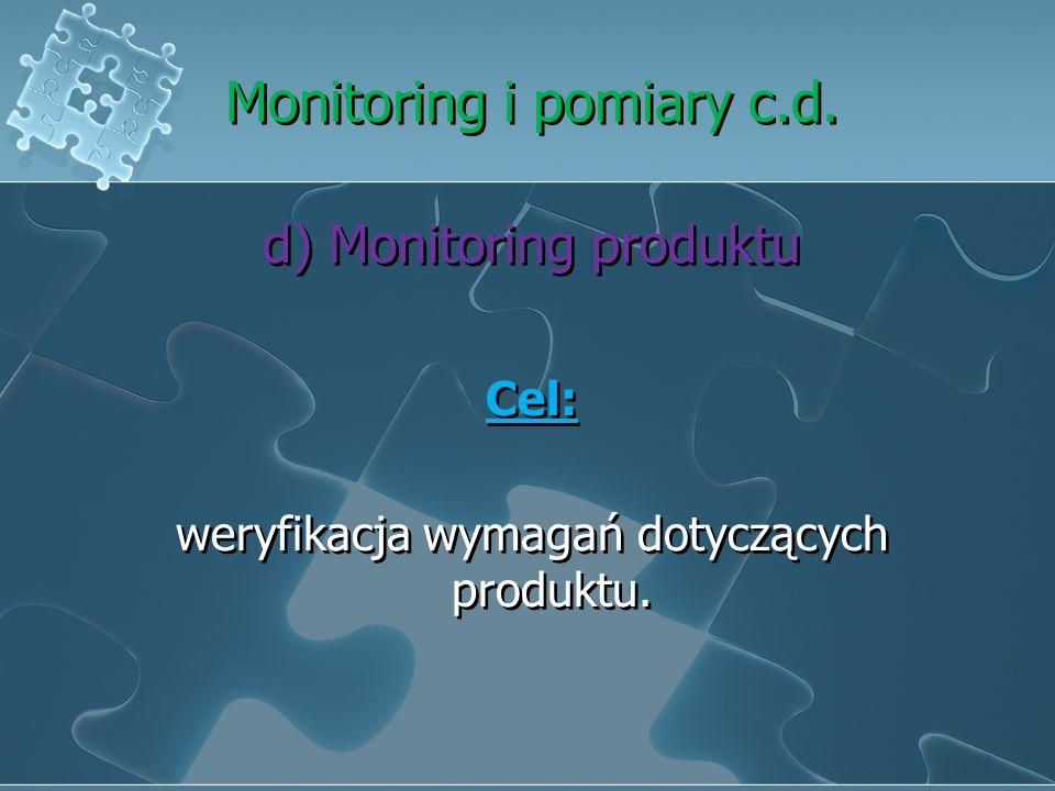 Monitoring i pomiary c.d. c)Monitoring procesów Stosowanie odpowiednich metod monitoringu Zdolność do osiągnięcia zaplanowanych wyników Podejmowanie d