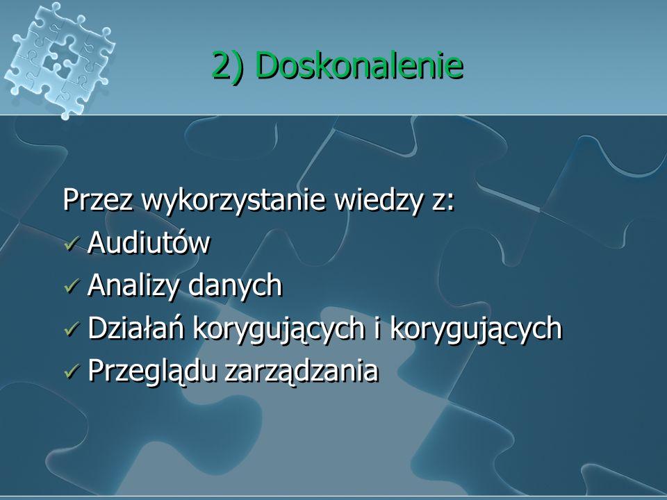 1) Analiza danych W celu wykazania skuteczności systemu. Z jakich źródeł? odm klienta Zgodności z wymaganiami wyrobu Analizując trendy produkcji Dosta