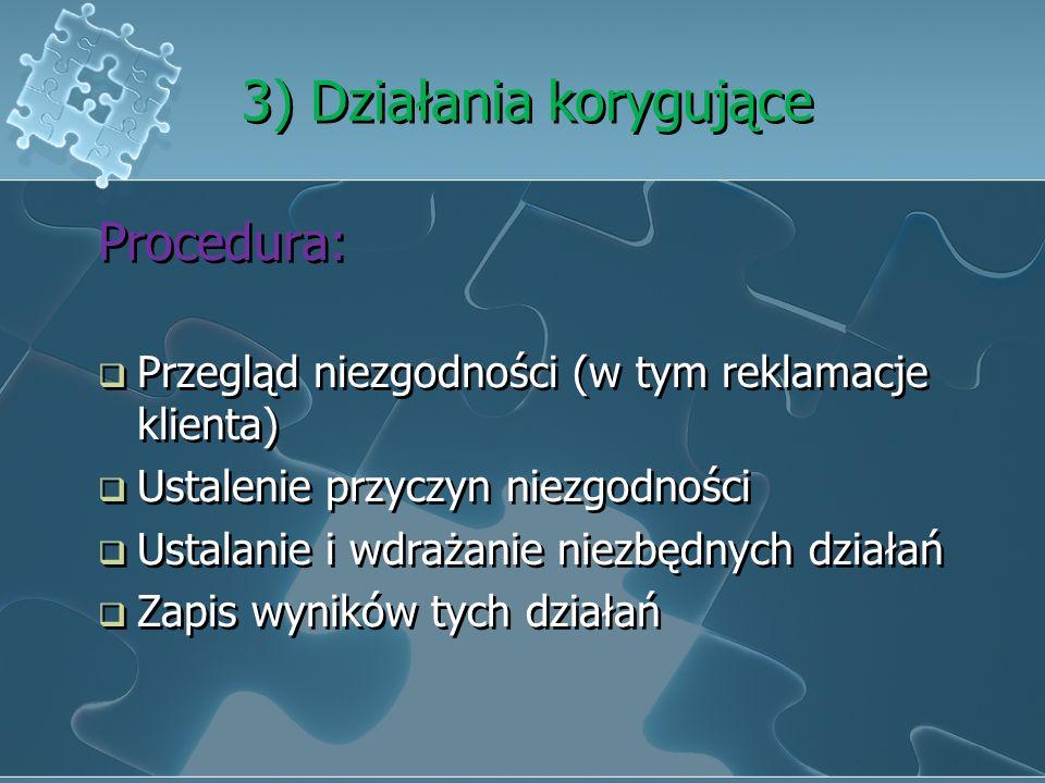 2) Doskonalenie Przez wykorzystanie wiedzy z: Audiutów Analizy danych Działań korygujących i korygujących Przeglądu zarządzania Przez wykorzystanie wi