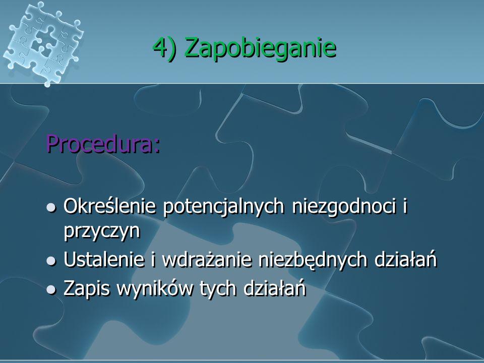 3) Działania korygujące Procedura: Przegląd niezgodności (w tym reklamacje klienta) Ustalenie przyczyn niezgodności Ustalanie i wdrażanie niezbędnych