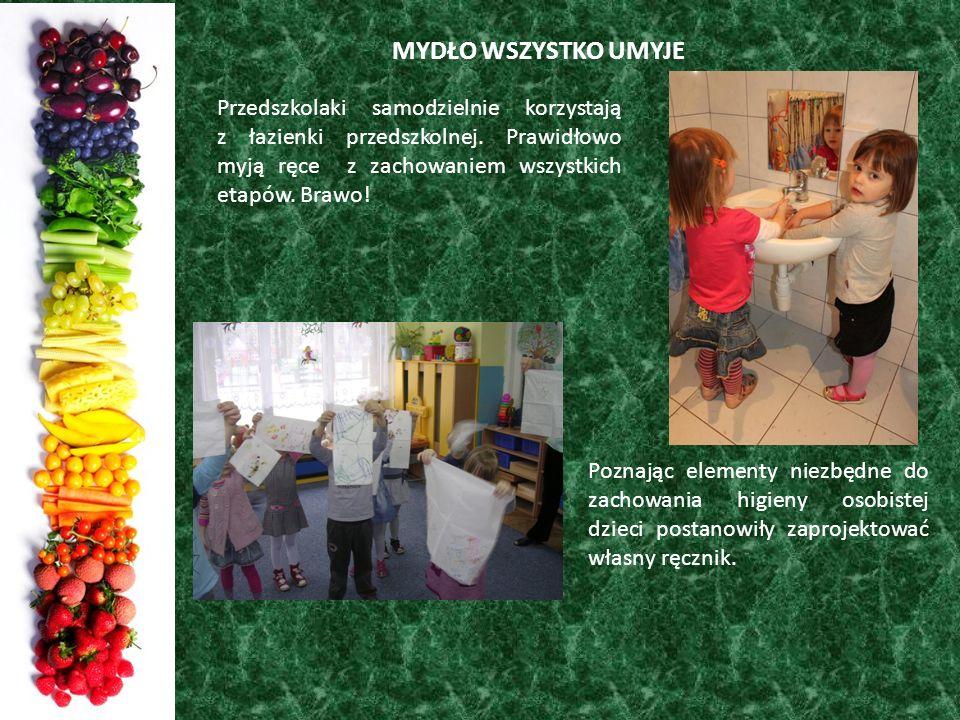 MYDŁO WSZYSTKO UMYJE Przedszkolaki samodzielnie korzystają z łazienki przedszkolnej. Prawidłowo myją ręce z zachowaniem wszystkich etapów. Brawo! Pozn
