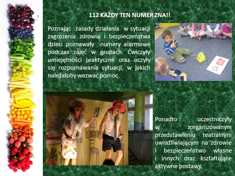 112 KAŻDY TEN NUMER ZNA!! Poznając zasady działania w sytuacji zagrożenia zdrowia i bezpieczeństwa dzieci poznawały numery alarmowe podczas zajęć w gr