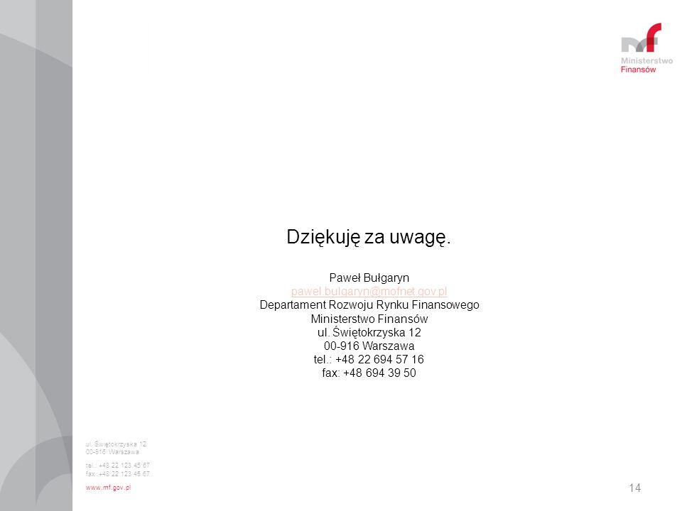 14 Dziękuję za uwagę. Paweł Bułgaryn pawel.bulgaryn@mofnet.gov.pl Departament Rozwoju Rynku Finansowego Ministerstwo Finansów ul. Świętokrzyska 12 00-