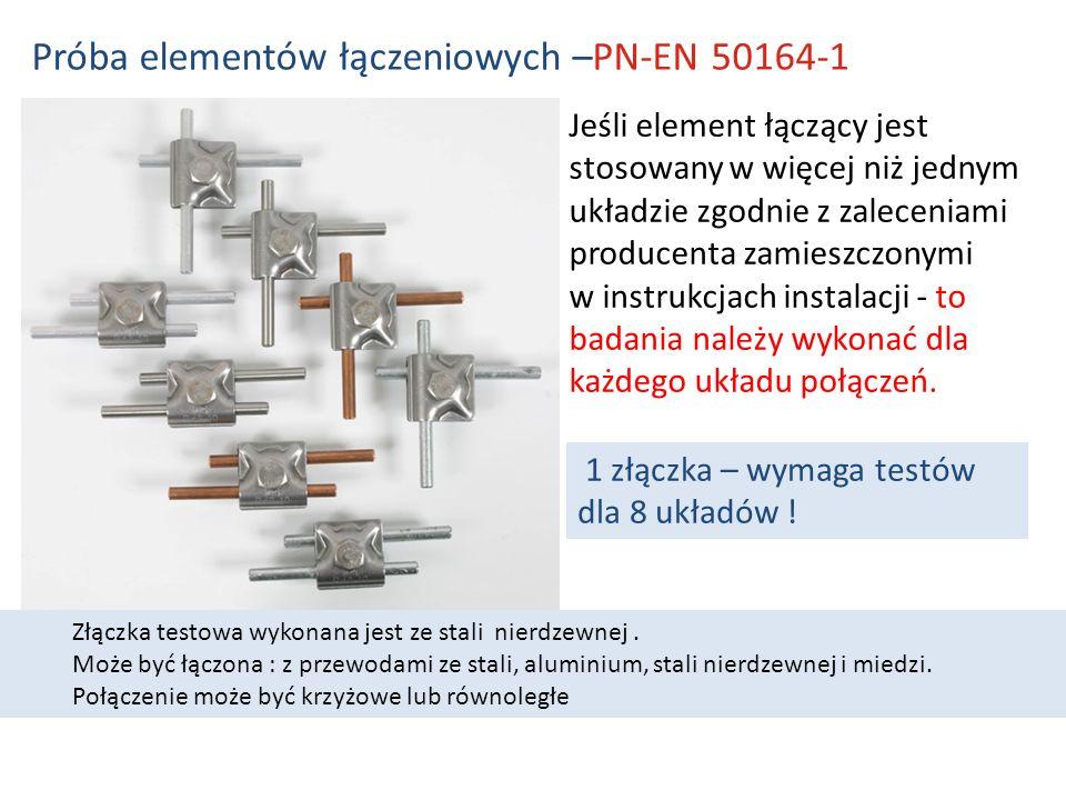 Jeśli element łączący jest stosowany w więcej niż jednym układzie zgodnie z zaleceniami producenta zamieszczonymi w instrukcjach instalacji - to badania należy wykonać dla każdego układu połączeń.