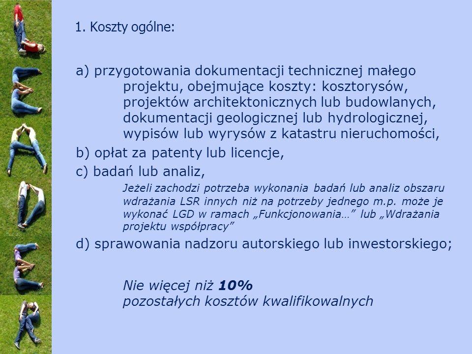 a) przygotowania dokumentacji technicznej małego projektu, obejmujące koszty: kosztorysów, projektów architektonicznych lub budowlanych, dokumentacji geologicznej lub hydrologicznej, wypisów lub wyrysów z katastru nieruchomości, b) opłat za patenty lub licencje, c) badań lub analiz, Jeżeli zachodzi potrzeba wykonania badań lub analiz obszaru wdrażania LSR innych niż na potrzeby jednego m.p.