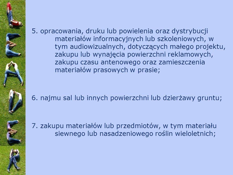 5. opracowania, druku lub powielenia oraz dystrybucji materiałów informacyjnych lub szkoleniowych, w tym audiowizualnych, dotyczących małego projektu,