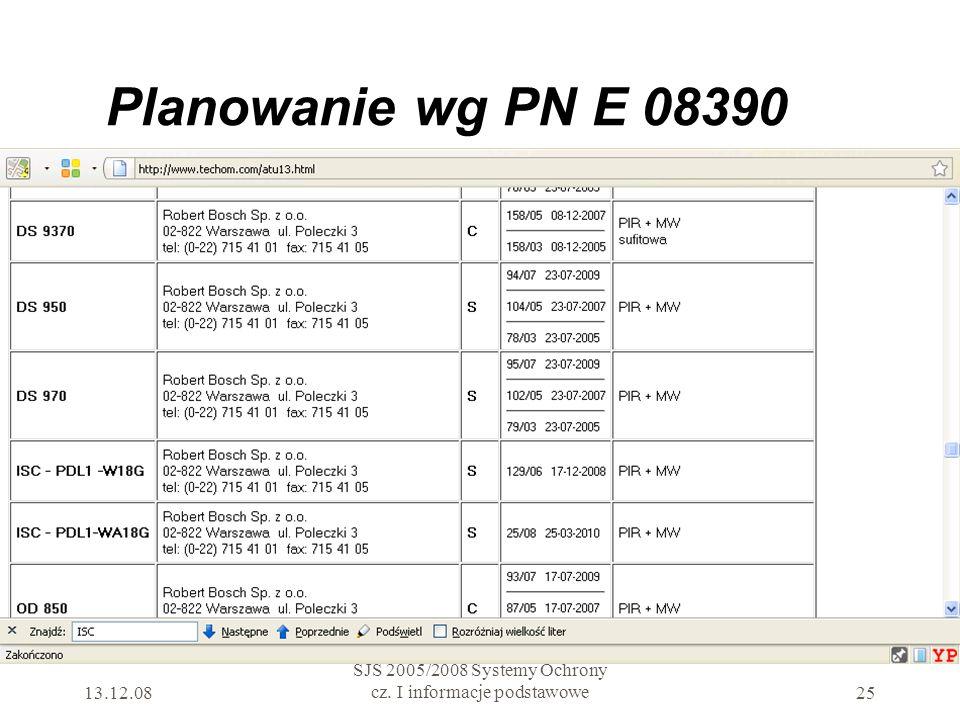 Planowanie wg PN E 08390 13.12.08 SJS 2005/2008 Systemy Ochrony cz. I informacje podstawowe25