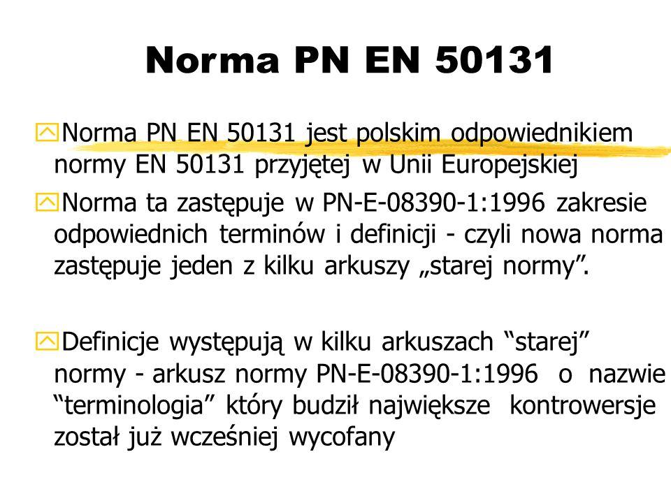 Norma PN EN 50131 Norma PN EN 50131 jest polskim odpowiednikiem normy EN 50131 przyjętej w Unii Europejskiej Norma ta zastępuje w PN-E-08390-1:1996 zakresie odpowiednich terminów i definicji - czyli nowa norma zastępuje jeden z kilku arkuszy starej normy.