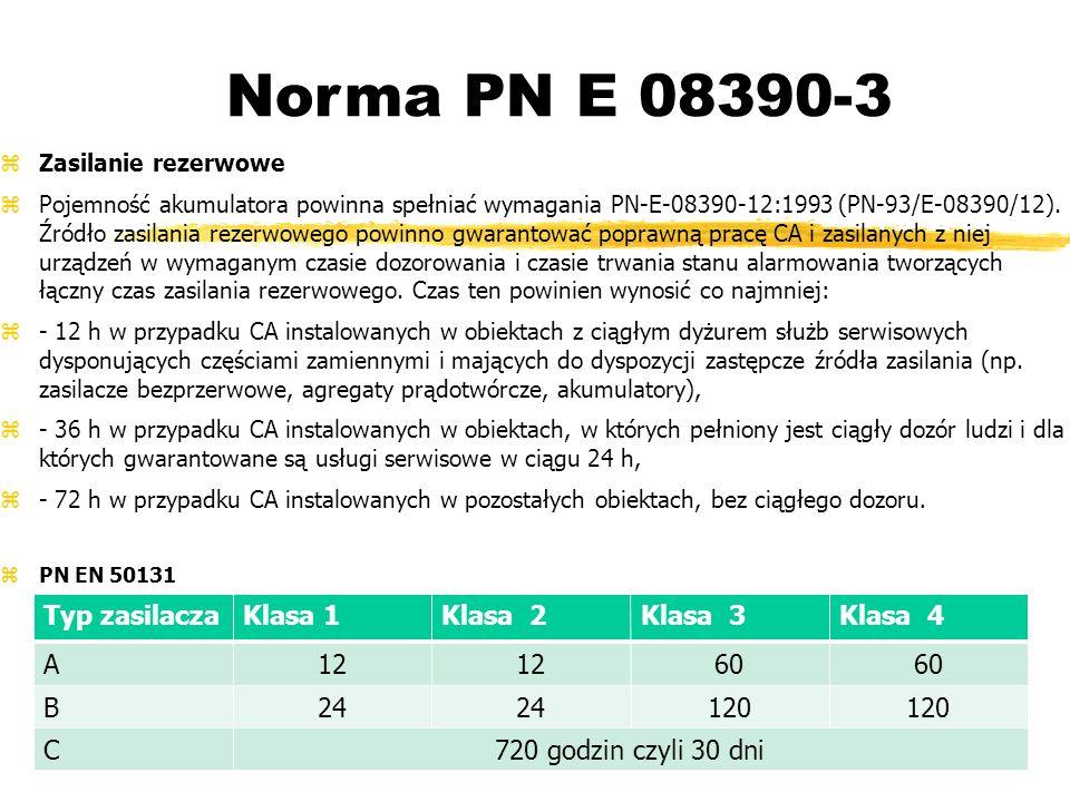 Norma PN E 08390-3 Zasilanie rezerwowe Pojemność akumulatora powinna spełniać wymagania PN-E-08390-12:1993 (PN-93/E-08390/12).