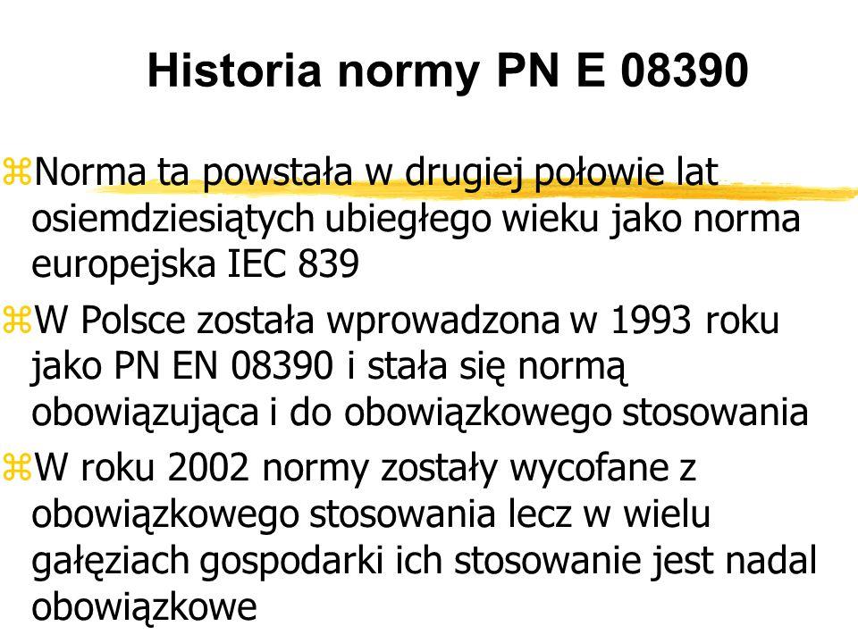Historia normy PN E 08390 Norma ta powstała w drugiej połowie lat osiemdziesiątych ubiegłego wieku jako norma europejska IEC 839 W Polsce została wprowadzona w 1993 roku jako PN EN 08390 i stała się normą obowiązująca i do obowiązkowego stosowania W roku 2002 normy zostały wycofane z obowiązkowego stosowania lecz w wielu gałęziach gospodarki ich stosowanie jest nadal obowiązkowe