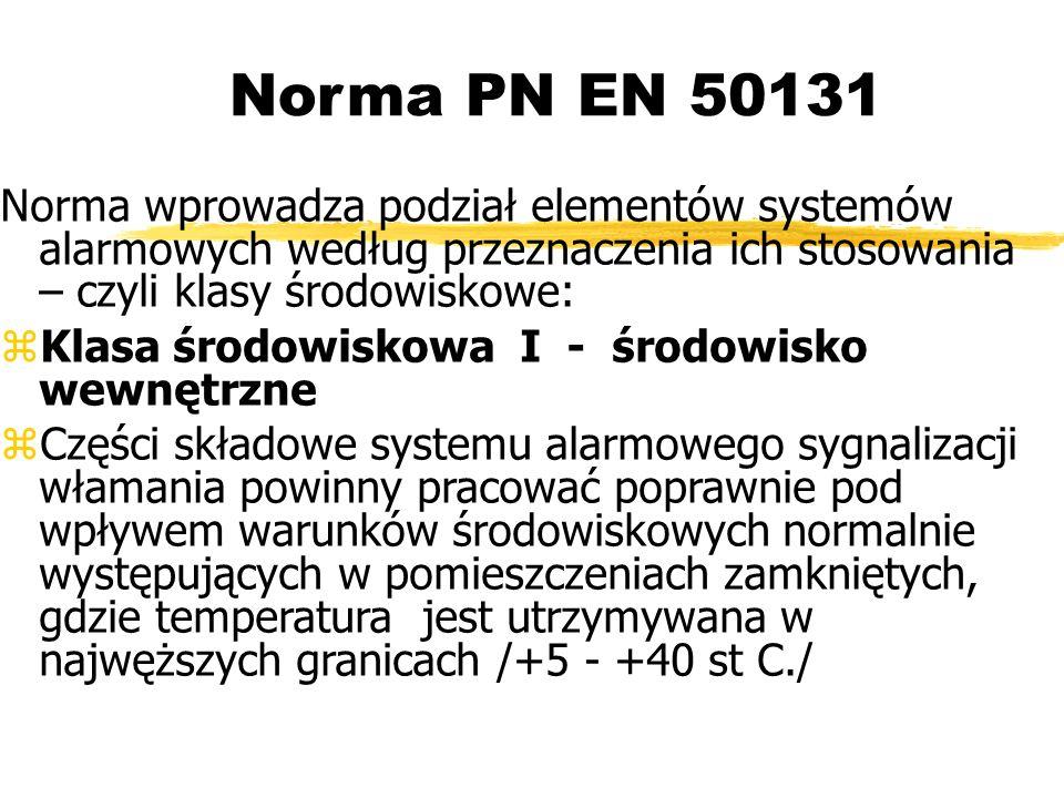 Norma PN EN 50131 Norma wprowadza podział elementów systemów alarmowych według przeznaczenia ich stosowania – czyli klasy środowiskowe: Klasa środowiskowa I - środowisko wewnętrzne Części składowe systemu alarmowego sygnalizacji włamania powinny pracować poprawnie pod wpływem warunków środowiskowych normalnie występujących w pomieszczeniach zamkniętych, gdzie temperatura jest utrzymywana w najwęższych granicach /+5 - +40 st C./