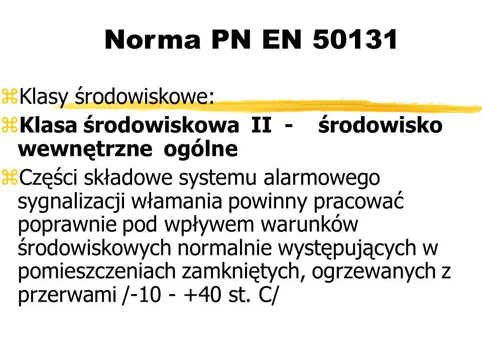 Norma PN EN 50131 Klasy środowiskowe: Klasa środowiskowa II - środowisko wewnętrzne ogólne Części składowe systemu alarmowego sygnalizacji włamania powinny pracować poprawnie pod wpływem warunków środowiskowych normalnie występujących w pomieszczeniach zamkniętych, ogrzewanych z przerwami /-10 - +40 st.