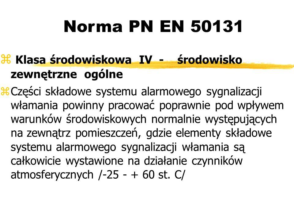 Norma PN EN 50131 Klasa środowiskowa IV - środowisko zewnętrzne ogólne Części składowe systemu alarmowego sygnalizacji włamania powinny pracować poprawnie pod wpływem warunków środowiskowych normalnie występujących na zewnątrz pomieszczeń, gdzie elementy składowe systemu alarmowego sygnalizacji włamania są całkowicie wystawione na działanie czynników atmosferycznych /-25 - + 60 st.