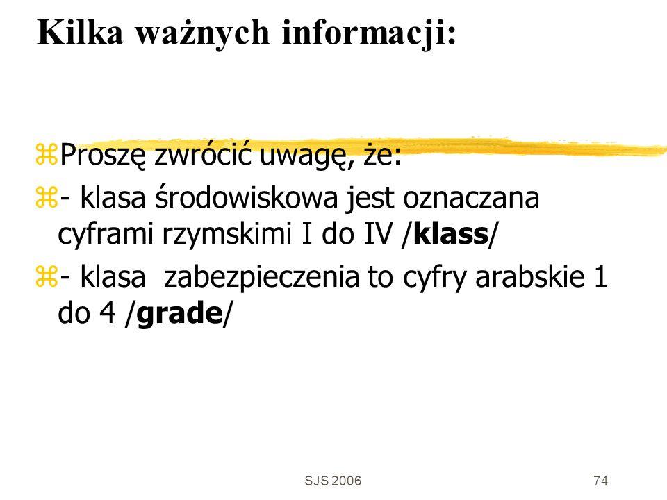 SJS 200674 Kilka ważnych informacji: Proszę zwrócić uwagę, że: - klasa środowiskowa jest oznaczana cyframi rzymskimi I do IV /klass/ - klasa zabezpieczenia to cyfry arabskie 1 do 4 /grade/