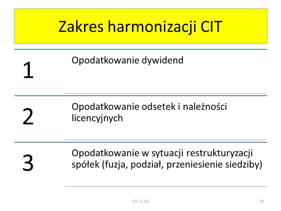 Zakres harmonizacji CIT 1 Opodatkowanie dywidend 2 Opodatkowanie odsetek i należności licencyjnych 3 Opodatkowanie w sytuacji restrukturyzacji spółek