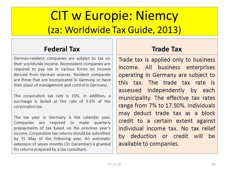 CIT w Europie: Niemcy (za: Worldwide Tax Guide, 2013) Federal Tax German-resident companies are subject to tax on their worldwide income. Nonresident