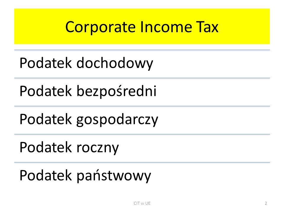 Corporate Income Tax Podatek dochodowy Podatek bezpośredni Podatek gospodarczy Podatek roczny Podatek państwowy CIT w UE2