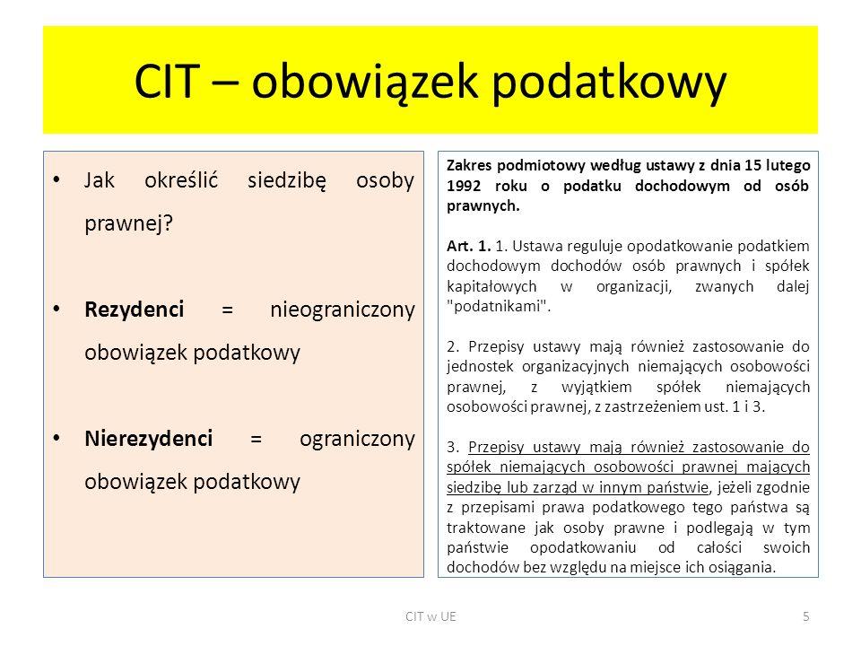 CIT – obowiązek podatkowy Jak określić siedzibę osoby prawnej? Rezydenci = nieograniczony obowiązek podatkowy Nierezydenci = ograniczony obowiązek pod