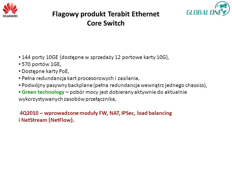 Flagowy produkt Terabit Ethernet Core Switch 144 porty 10GE (dostępne w sprzedaży 12 portowe karty 10G), 570 portów 1GE, Dostępne karty PoE, Pełna red