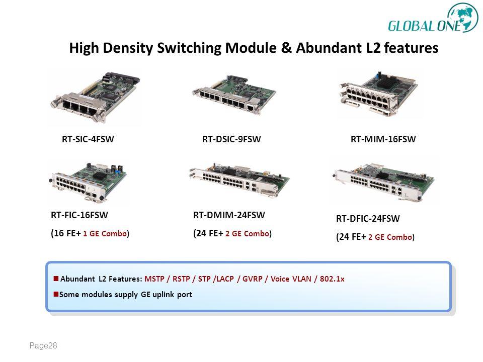 High Density Switching Module & Abundant L2 features Page28 RT-SIC-4FSW RT-DSIC-9FSW RT-MIM-16FSW RT-FIC-16FSW (16 FE+ 1 GE Combo) RT-DMIM-24FSW (24 FE+ 2 GE Combo) RT-DFIC-24FSW (24 FE+ 2 GE Combo) Abundant L2 Features: MSTP / RSTP / STP /LACP / GVRP / Voice VLAN / 802.1x Some modules supply GE uplink port