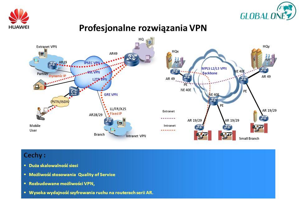 Profesjonalne rozwiązania VPN Cechy : Duża skalowalność sieci Możliwość stosowania Quality of Service Rozbudowane możliwości VPN, Wysoka wydajność szyfrowania ruchu na routerach serii AR.