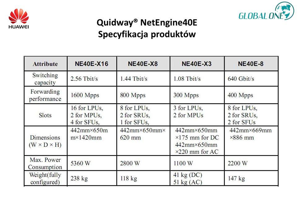 Quidway® NetEngine40E Specyfikacja produktów