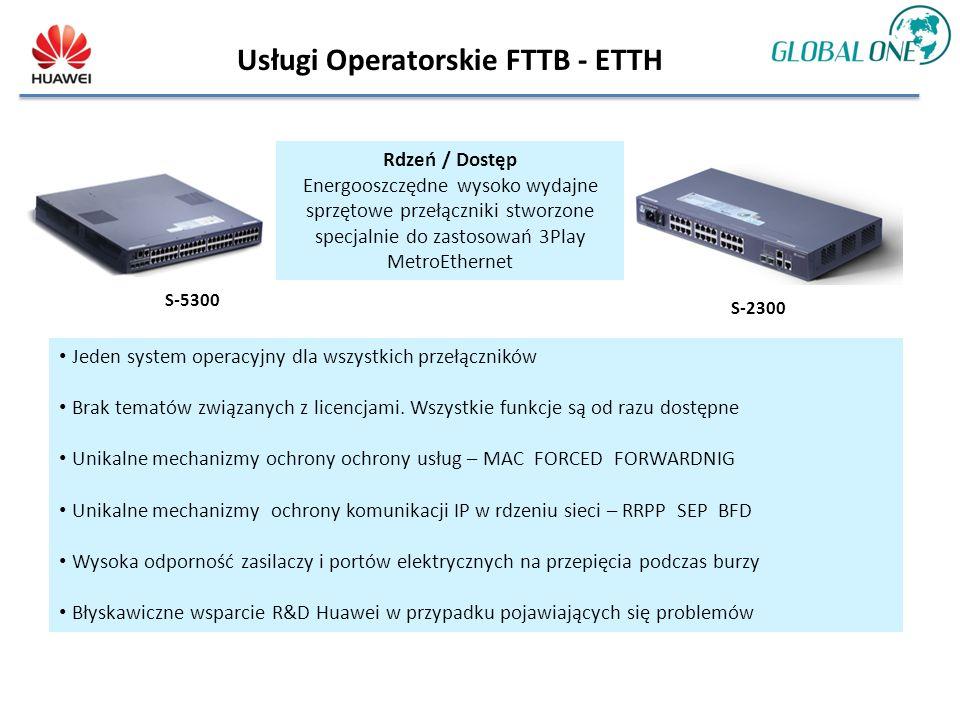 Usługi Operatorskie FTTB - ETTH S-2300 Rdzeń / Dostęp Energooszczędne wysoko wydajne sprzętowe przełączniki stworzone specjalnie do zastosowań 3Play MetroEthernet Jeden system operacyjny dla wszystkich przełączników Brak tematów związanych z licencjami.