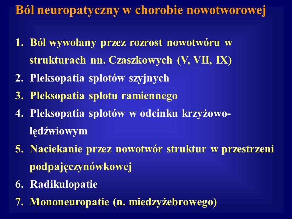 Ból neuropatyczny w chorobie nowotworowej 1.Ból wywołany przez rozrost nowotwóru w strukturach nn. Czaszkowych (V, VII, IX) 2.Pleksopatia splotów szyj