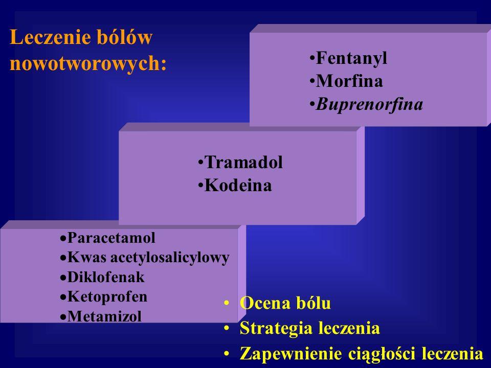 Paracetamol Kwas acetylosalicylowy Diklofenak Ketoprofen Metamizol Fentanyl Morfina Buprenorfina Leczenie bólów nowotworowych: Tramadol Kodeina Ocena