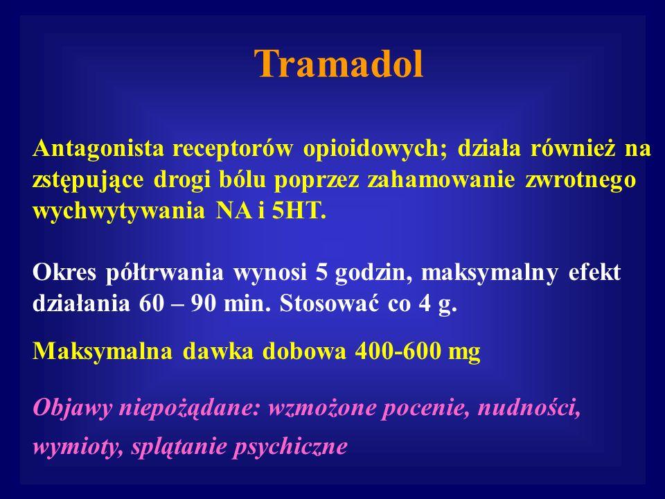 Tramadol Antagonista receptorów opioidowych; działa również na zstępujące drogi bólu poprzez zahamowanie zwrotnego wychwytywania NA i 5HT. Okres półtr