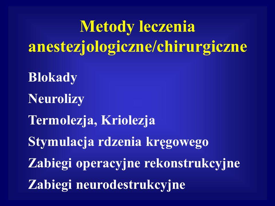 Metody leczenia anestezjologiczne/chirurgiczne Blokady Neurolizy Termolezja, Kriolezja Stymulacja rdzenia kręgowego Zabiegi operacyjne rekonstrukcyjne
