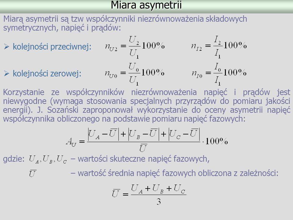 Miara asymetrii kolejności przeciwnej: Miarą asymetrii są tzw współczynniki niezrównoważenia składowych symetrycznych, napięć i prądów: kolejności zer