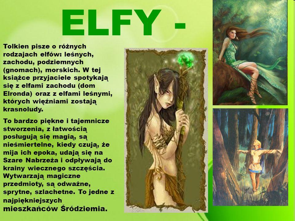 Tolkien pisze o różnych rodzajach elfów: leśnych, zachodu, podziemnych (gnomach), morskich. W tej książce przyjaciele spotykają się z elfami zachodu (