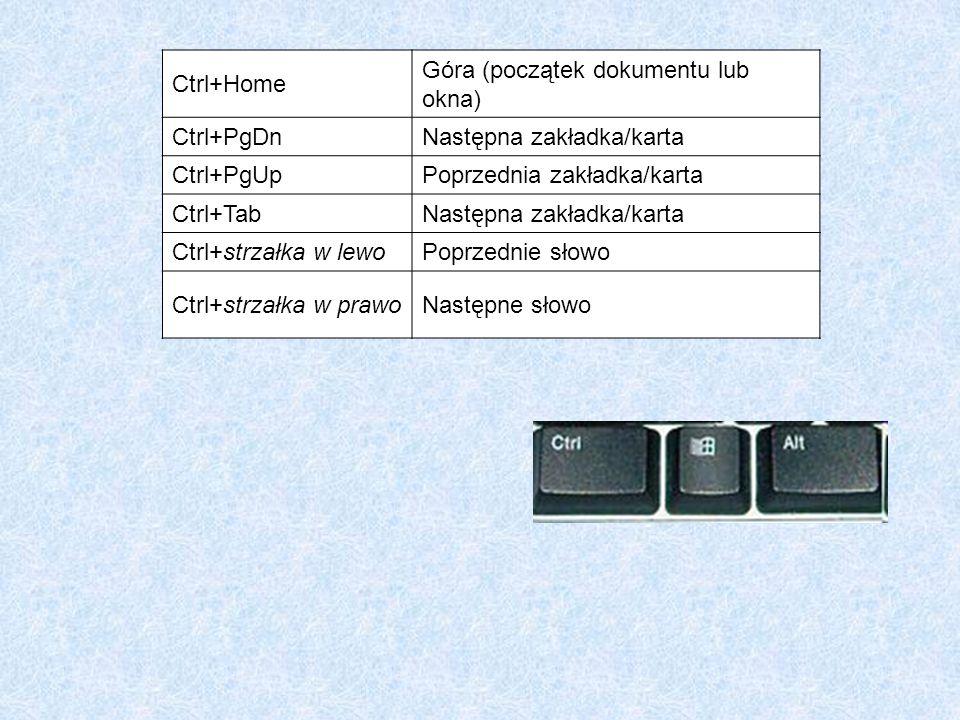 Ctrl+Home Góra (początek dokumentu lub okna) Ctrl+PgDnNastępna zakładka/karta Ctrl+PgUpPoprzednia zakładka/karta Ctrl+TabNastępna zakładka/karta Ctrl+