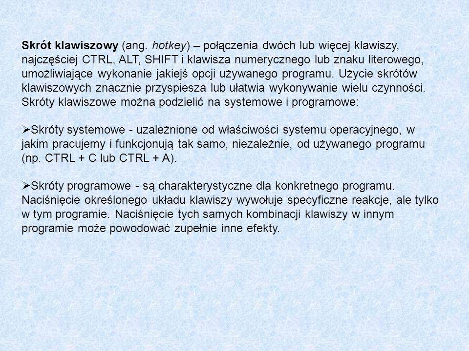 Skrót klawiszowy (ang. hotkey) – połączenia dwóch lub więcej klawiszy, najczęściej CTRL, ALT, SHIFT i klawisza numerycznego lub znaku literowego, umoż