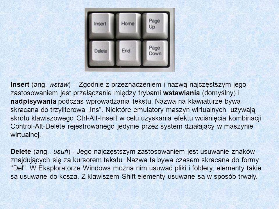 Insert (ang. wstaw) – Zgodnie z przeznaczeniem i nazwą najczęstszym jego zastosowaniem jest przełączanie między trybami wstawiania (domyślny) i nadpis
