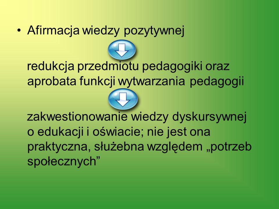 Afirmacja wiedzy pozytywnej redukcja przedmiotu pedagogiki oraz aprobata funkcji wytwarzania pedagogii zakwestionowanie wiedzy dyskursywnej o edukacji