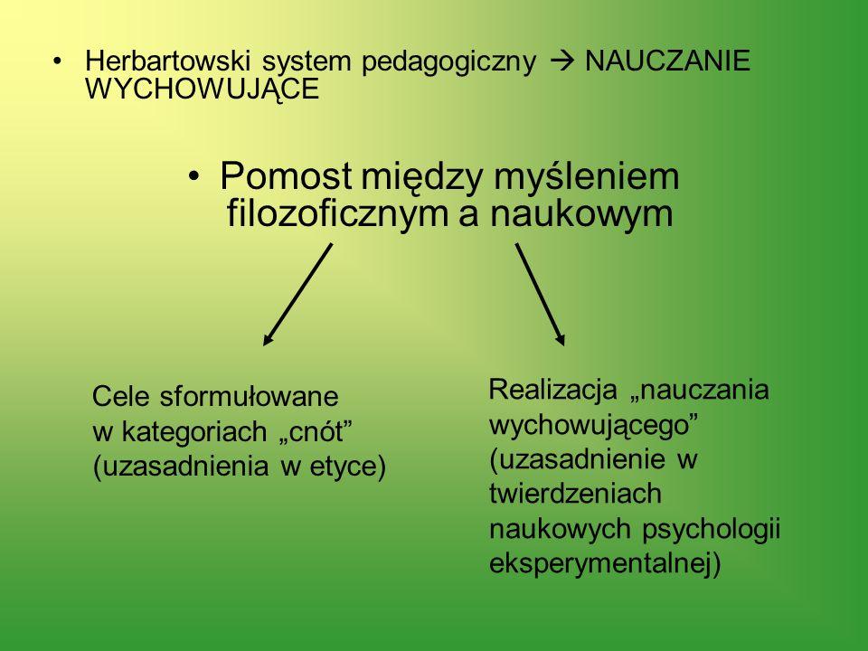 Herbartowski system pedagogiczny NAUCZANIE WYCHOWUJĄCE Pomost między myśleniem filozoficznym a naukowym Cele sformułowane w kategoriach cnót (uzasadni
