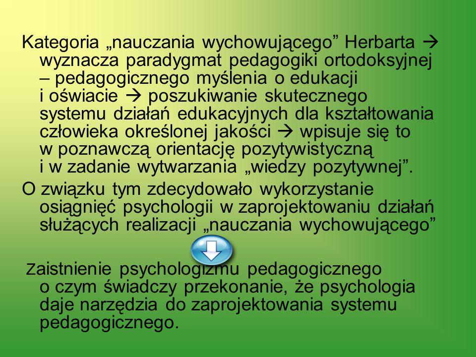 Kategoria nauczania wychowującego Herbarta wyznacza paradygmat pedagogiki ortodoksyjnej – pedagogicznego myślenia o edukacji i oświacie poszukiwanie s