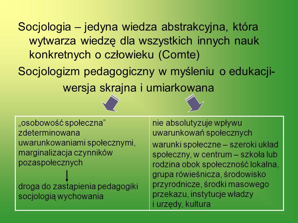 Socjologia – jedyna wiedza abstrakcyjna, która wytwarza wiedzę dla wszystkich innych nauk konkretnych o człowieku (Comte) Socjologizm pedagogiczny w m