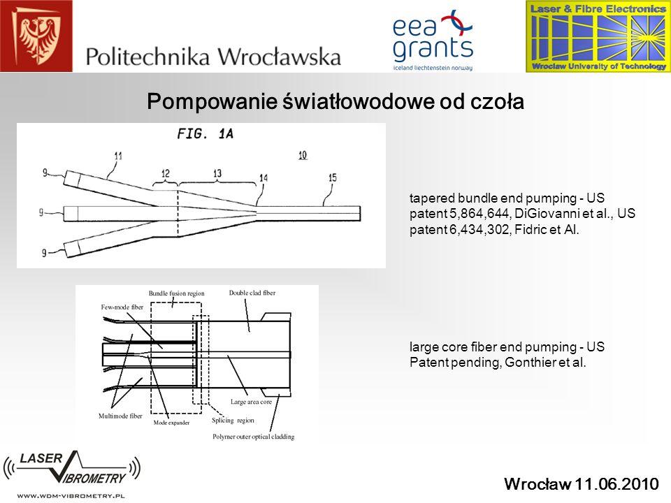 Wrocław 11.06.2010 Pompowanie światłowodowe od czoła tapered bundle end pumping - US patent 5,864,644, DiGiovanni et al., US patent 6,434,302, Fidric